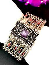 Pyramid Amethyst Stone Layer Bracelet Lucky Brand Navajo Southwest Silver-Tone