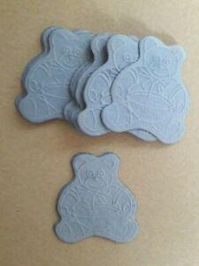 20 oursons embellissements en papier cartonné 5 cm x 4.5 cm environ bleu clair