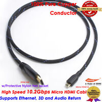 Micro HDMI to HDMI M/M Cable 10FT For GoPro Hero6 Hear5 Hero3+ Hero3 1080P HD