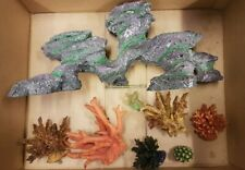 "Large 16"" long artificial aquarium rock decoration & 7 rubber coral pieces"