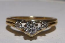 Wedding Promise Ring 14K Yellow Gold Prong Set Diamonds Size 4 Super