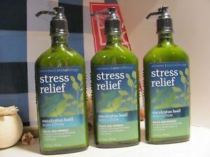 Bath and Body Works 3 Aromatherapy ~STRESS~ Eucalyptus Basil  Body Lotion