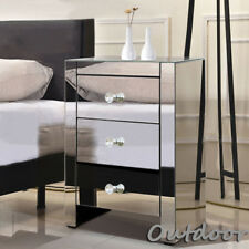Bedroom Living Room Bed Side Cabinet Cupboard Mirrored Glass Three-drawers Table