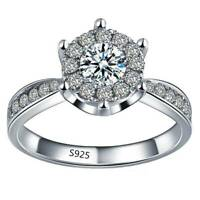 925 Sterling Silber Modeschmuck Schöne Zirkon Herz Frauen Ring 6 7 8 Fein