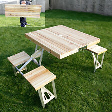 Wooden Picnic Table Bench Seat Outdoor Portable Folding Camping With 4 Seats