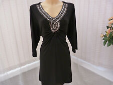 Ann Harvey designer occasion black stretch top tunic sz 2 /22-24UK