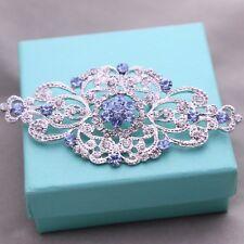 Wedding Bridal Dress Gown Silver Tone Light Blue Rhinestone Crystal Brooch Pin