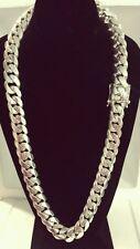 "Handmade Sterling Silver Men's Miami Cuban Link Chain, 30""20.8 mm. 803 gramos"