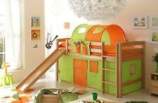 Lit mezzanine avec toboggan THEO R Hêtre massif tissus Vert-Orange