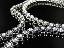 Genuine Diamond Chain Necklace 79 Gm 14K Mens 1 Row Bezel Set