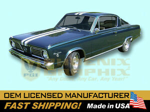 1966 Plymouth Barracuda Over-Roof Stencil or Vinyl Decals & Stripes Kit