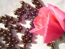 25  8x6mm #1-Dark Bronze Glass Tear Drop Beads