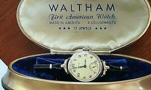 Antique Gold 1918 Waltham manual wind mechanical wrist watch . Fully serviced.