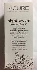 Acure Night Cream Argan Stem Cell +2% Chlorella Growth Factor Organic 1.75 oz