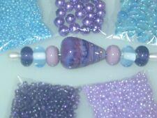 Light Blue Purple .999 Silver Handmade Lampwork Glass Crystal Seed Bead Lot 4052