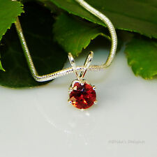 Fire Red Garnet Sterling Silver Pendant  w/ Snake Chain Necklace