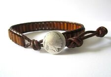 Unisex Men's Gift Brown Leather Wrap Bracelet  Brown Wood Beads Indian Button