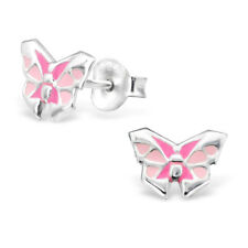 925 Sterling Silver kids girls women Stud Origami Butterfly Earrings Jewelry