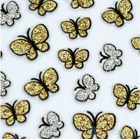 Glitter Butterfly Nail Art Stickers Decals Nail Tips Decoration Manicure Kit 3D