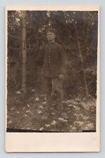 WW1 Antique GERMAN Real Photo RPPC Postcard UNIFORM SOLDIER w/ IRON CROSS RIBBON