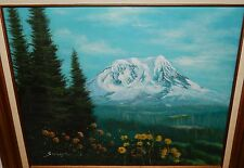 SWANSON SNOW CAP MOUNT SAINT HELEN OIL ON CANVAS PAINTING