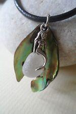 Orgánica Abalone Shell Sirena Mar de Cristal de cuero collar de Surf único