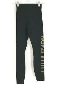 LULULEMON - WOMEN'S SIZE 2 - BLACK YOGA FITNESS SPELLOUT LEGGINGS PANTS