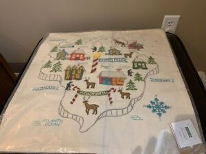 """NWT Pottery Barn North Pole Map Embroidered Pillow Cover 20"""" Holiday Map Lodge"""