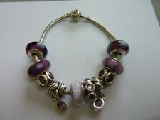 Pandora Bracelet - 19cm - with purple charms - rare, retired charms - with box