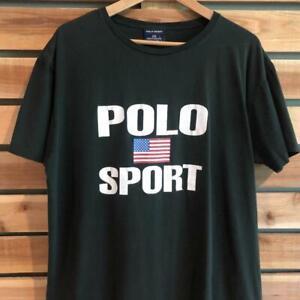 VTG 90s Faded Black Polo Ralph Lauren Sport Flag Logo Spellout T Shirt L