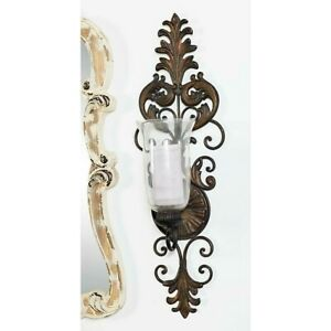 Vintage Victorian Style Candle Sconce Wall Mount Glass Pillar Holder, Antiqued