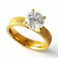 Womens Mens Wedding yellow Gold filled Crystal Engagement Ring Size 6 7 8 9