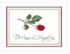 Personalized Flower Notecards ~ Red Rose