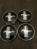 4 Black Wheel Center Caps For Ford Mustang Cobra GT Horse Rim Hub Hubcaps 60MM