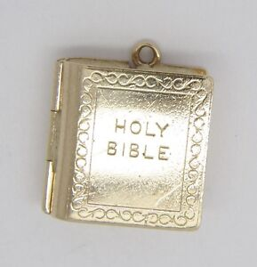 Bible Charm - 9ct Yellow Gold - Opening Feature - 15x14mm