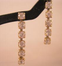 """1.8ct CZ Gold Vermeil Sterling Silver Chain 1"""" Dangle Earrings Vintage Earrings"""