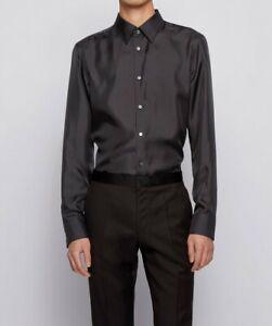 Hugo Boss Men's 'Iros' Black Slim Fit 100% Silk Dress Shirt 15.75, 35/36