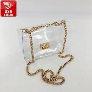 Beautiful Transparent PVC Clear Shoulder bag Clutch Purse with Gold Chain