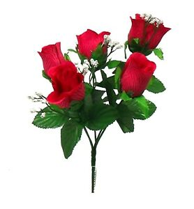 5 Roses Buds Artificial Silk Flowers Bouquet Wedding Centerpiece Party Fake Faux