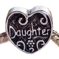 Daughter Heart Mother Mom Gift Spacer Charm for European Bead Slide Bracelets