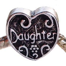 Daughter Heart Mother Mom Gift Spacer Charm for European Bead Slide Bracelets