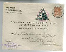 1933 Holland to Medan Netherlands Indies KLM First Flight Cover FFC Fokker