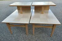 Pair Mid Century Modern Lane 2 Tiered Step Side Tables End Tables - 1950's