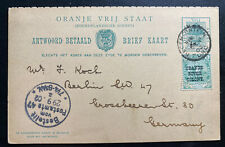 1902 Orange River Colon South Africa Postal Stationery Postcard Cover To Germany