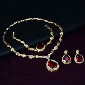 Necklace Earrings Bracelet Ring Set Waterdrop Gold Filled For Women Luxury Set C