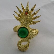 Green Naga Eye Stone Gem Thai Amulet Brass Ring Beliefs Power Protect Good Luck.