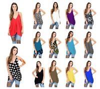 Ladies Plain LagenLook V Neck Romper Baggy Loose Oversize Strappy Cami Vest Top
