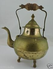 New listing Vintage Brass Footed Tea Pot Teapot Kettle W/ Wood Handle