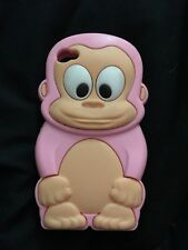 Pink Silicon Monkey Case For Iphone 4