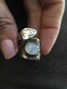 Artisan/Designer Hammered Sterling Silver & Crystal Quartz Ornate Wrap Ring Wide